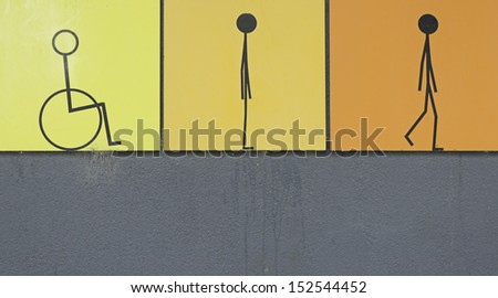 Poster disabilities and people walking, health and support - stock photo