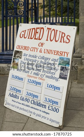Poster for tours of Oxford university and city centre - stock photo