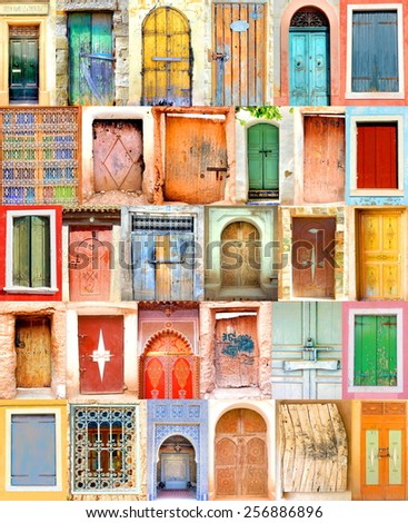 poster from old  doorways with colorful colors - stock photo