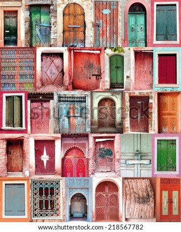 poster from old moroccan doorways with colorful colors   - stock photo