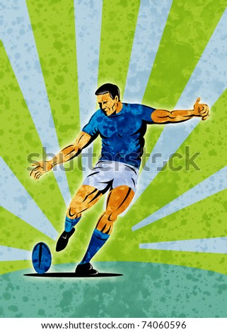 poster illustration of a rugby player kicking the ball with sunburst in background with grunge texture