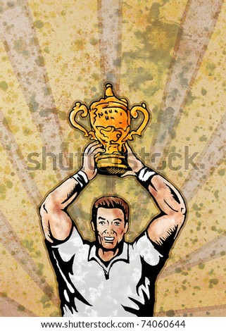 poster illustration of a rugby player raising championship world cup trophy with sunburst in background and grunge texture - stock photo