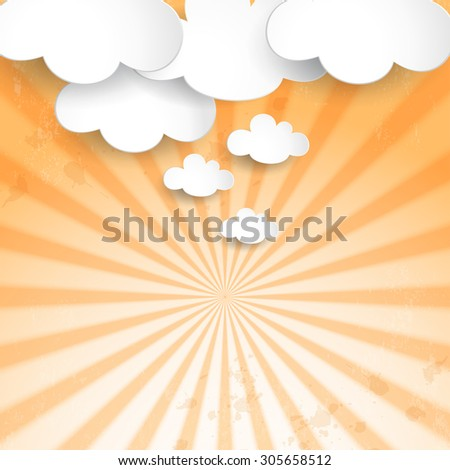 Poster in retro style. Old background with sunrays. Paper clouds. Place for your text.