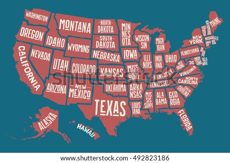 Poster Map United States America State Stock Vector - Maps of the united states