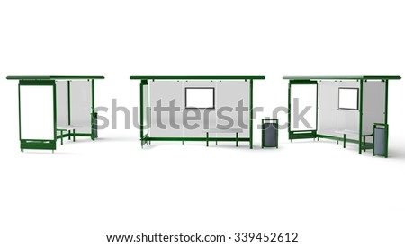 Poster mock up at green bus station for your design presentation - stock photo