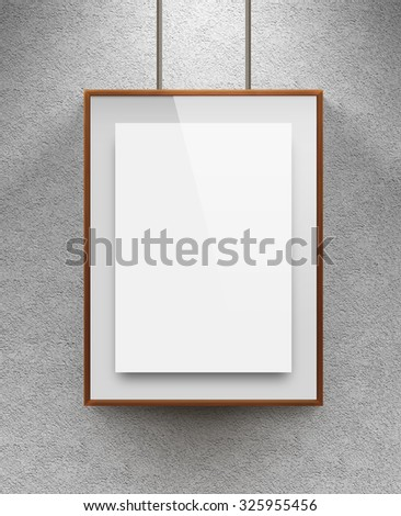 Poster mock up in the wooden frame. Nice mockup to show your design, picture or illustration. Blank sheet in wood canvas near the textured wall. Display art pattern or logo design with poster holder. - stock photo