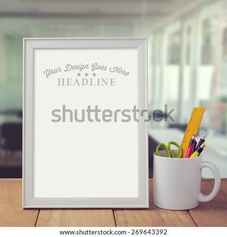 Poster mock up template over office background - stock photo