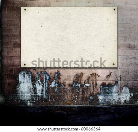 Poster On Grunge Real Wall - stock photo