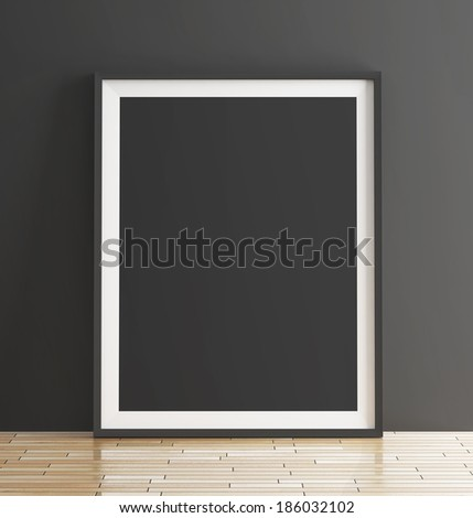 Poster on parquet floor - stock photo