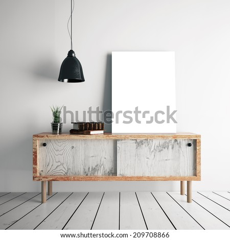 Poster on table in room - stock photo