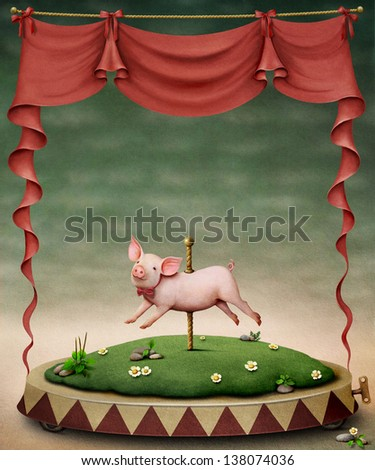 Poster or illustration of  pig on  pole - stock photo