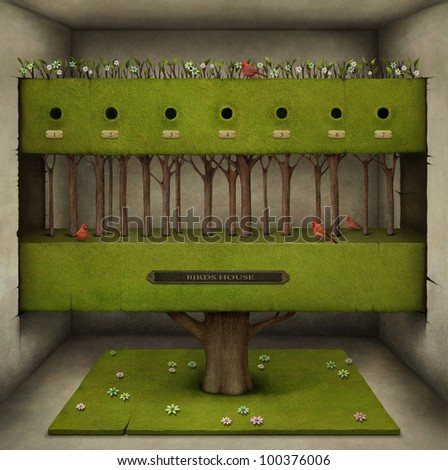 Poster or illustration of  tree in the room. Computer Graphics. - stock photo