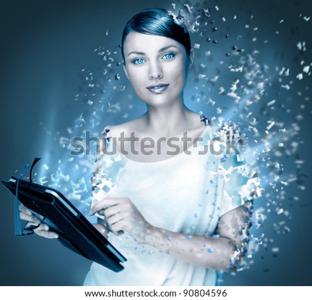 Poster photo of young pretty woman using her tablet computer and falling to pieces. Virtual life concept. Frozen cold look