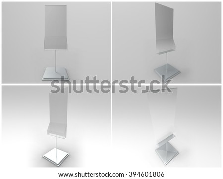 Poster Stand with Rack 3D Render is a professional realistic render of a unique metal / glass stand display customized for 50 x 70 cm size posters and a additional 100 x 210 mm display. - stock photo