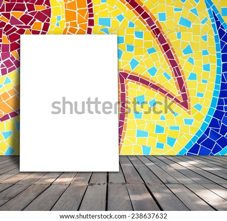 Poster standing on mosaic tile for information message - stock photo