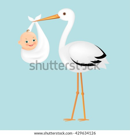 Poster Stork With Baby  - stock photo