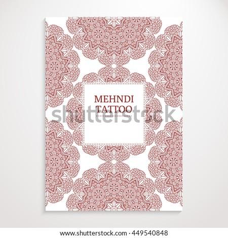 poster template mehndi henna tattoo design イラスト素材 449540848