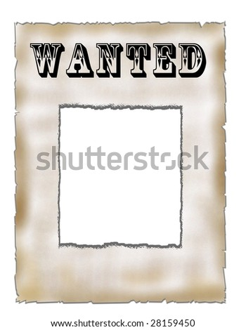 Poster Wanted on old paper - stock photo