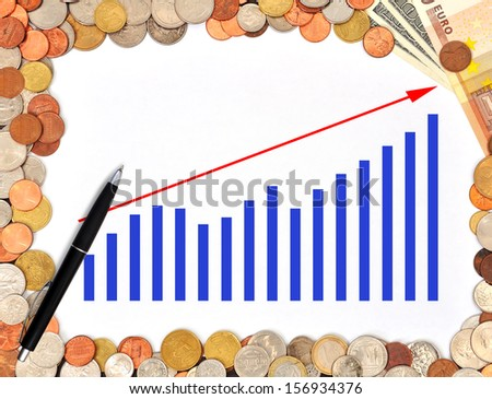 poster with business graph and money - stock photo