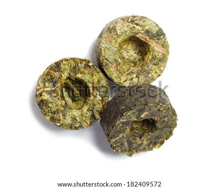 postfermentirovanny pressed green tea mini Tuo cha - stock photo