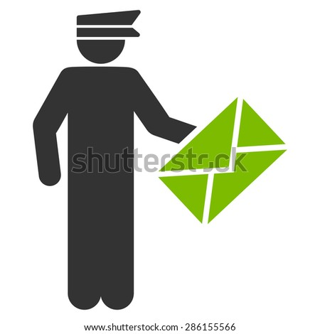 Postman icon from Business Bicolor Set. This flat glyph symbol uses eco green and gray colors, rounded angles, and isolated on a white background. - stock photo
