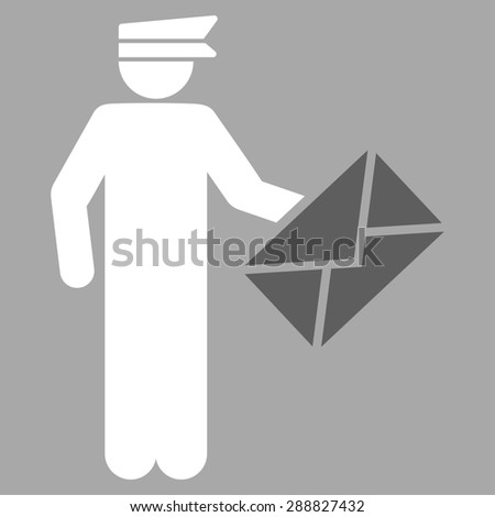 Postman icon from Business Bicolor Set. This flat raster symbol uses dark gray and white colors, rounded angles, and isolated on a silver background. - stock photo