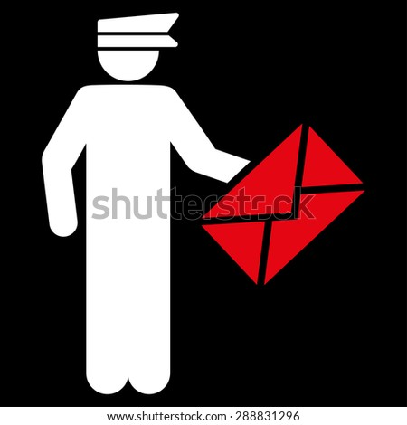 Postman icon from Business Bicolor Set. This flat raster symbol uses red and white colors, rounded angles, and isolated on a black background. - stock photo