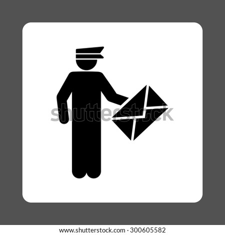 Postman icon. This flat rounded square button uses black and white colors and isolated on a gray background. - stock photo