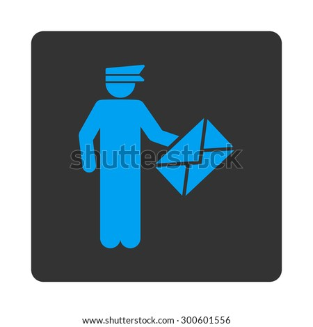 Postman icon. This flat rounded square button uses blue and gray colors and isolated on a white background. - stock photo
