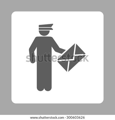 Postman icon. This flat rounded square button uses dark gray and white colors and isolated on a silver background. - stock photo