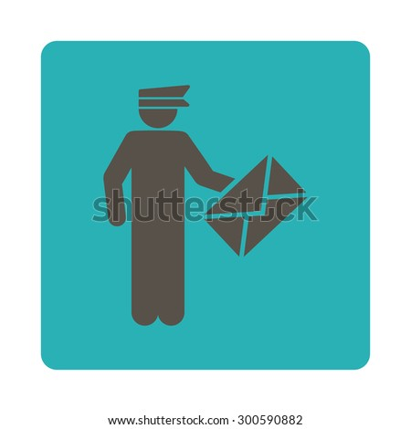 Postman icon. This flat rounded square button uses grey and cyan colors and isolated on a white background. - stock photo