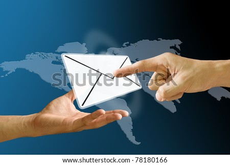 Postman's hand carry mail icon and finger pushing mail - stock photo