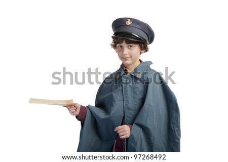 postman with letters and cap and rain coat on white background