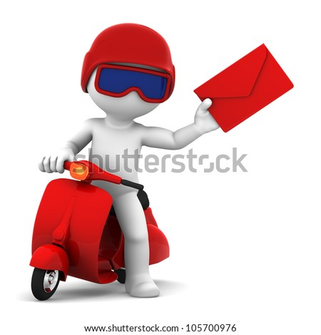 Postman with scooter delivering mail. Isolated - stock photo