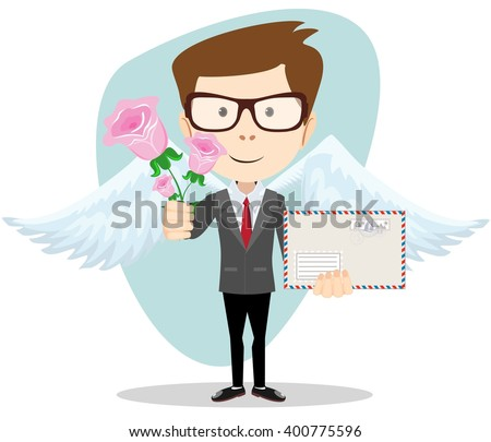 Postman with wings brought flowers and a letter. Stock illustration - stock photo