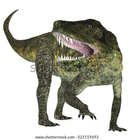 Postosuchus Triassic Reptile - Postosuchus was a cousin of crocodiles and lived as a carnivore in North America during the Triassic Era. - stock photo