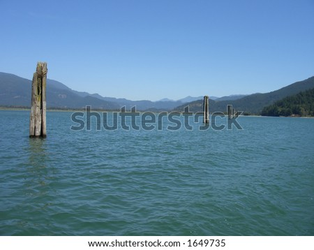 Posts in the Water - stock photo