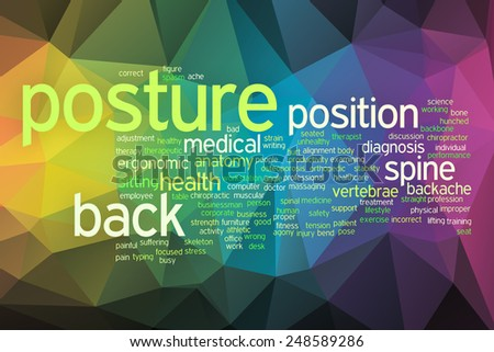 Posture concept word cloud  on a low poly background with polygons - stock photo
