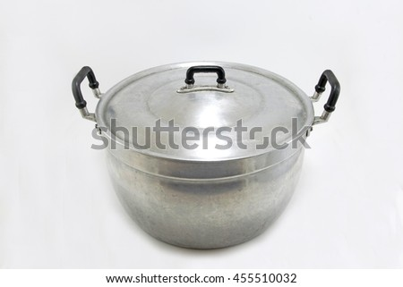 Pot aluminum on white background. - stock photo