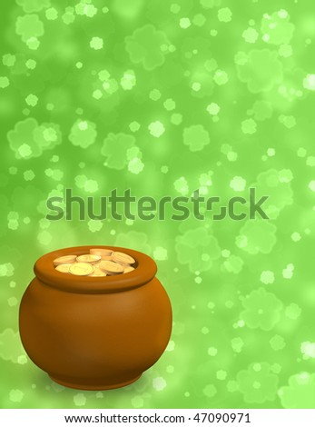 Pot, filled with gold coins - stock photo