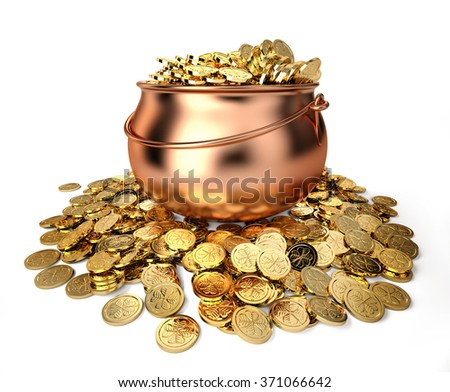 Pot full of golden coins - stock photo