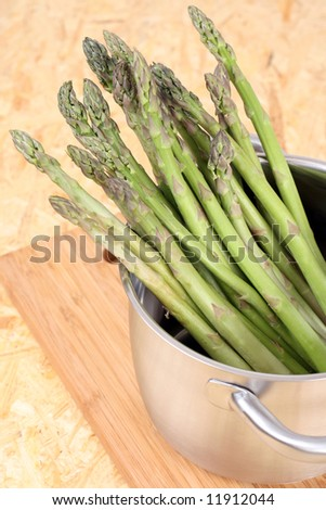 pot of asparagus ready to cook