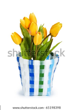 Pot of colorful tulips isolated on white - stock photo
