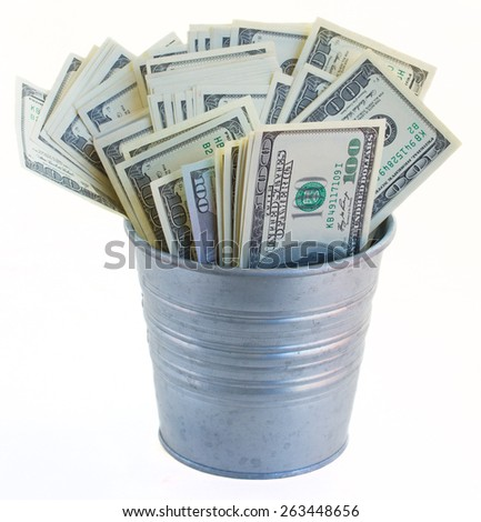 pot of dollars  isolated on white background - stock photo