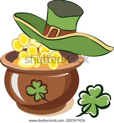 leprechaun pot of gold stock images  royalty free images   vectors    pot of gold coins and hat leprechaun