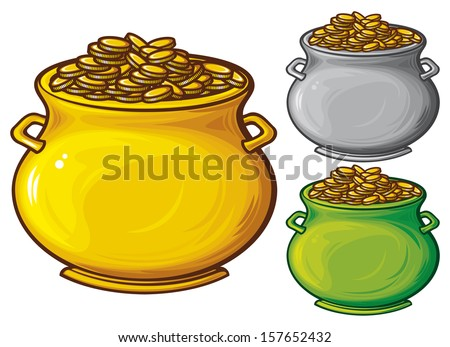 pot of gold coins (pot of gold) - stock photo
