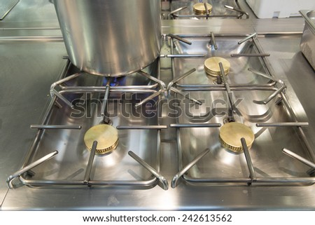 pot on a gas cooker - stock photo