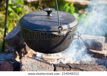 Pot on the fire outdoors