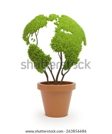 Pot plant shaped like a world map - ecology and green lifestyle concept - stock photo