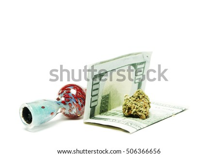 Pot, Weed, Cannabis, and Marijuana. Medical and Recreational Marijuana Buds on White Background. Legal Drug Business in America.